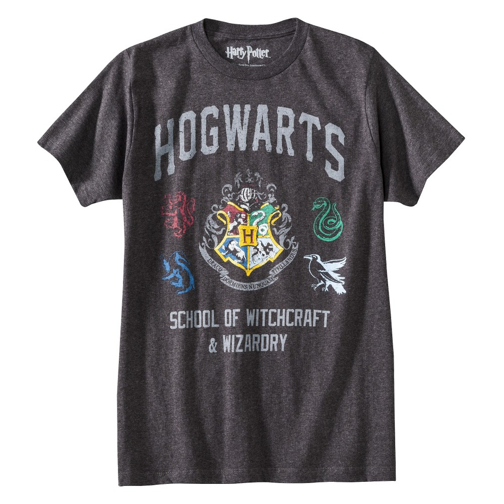 Men's Hogwarts Short Sleeve Graphic T-Shirt Charcoal Heather L, Gray