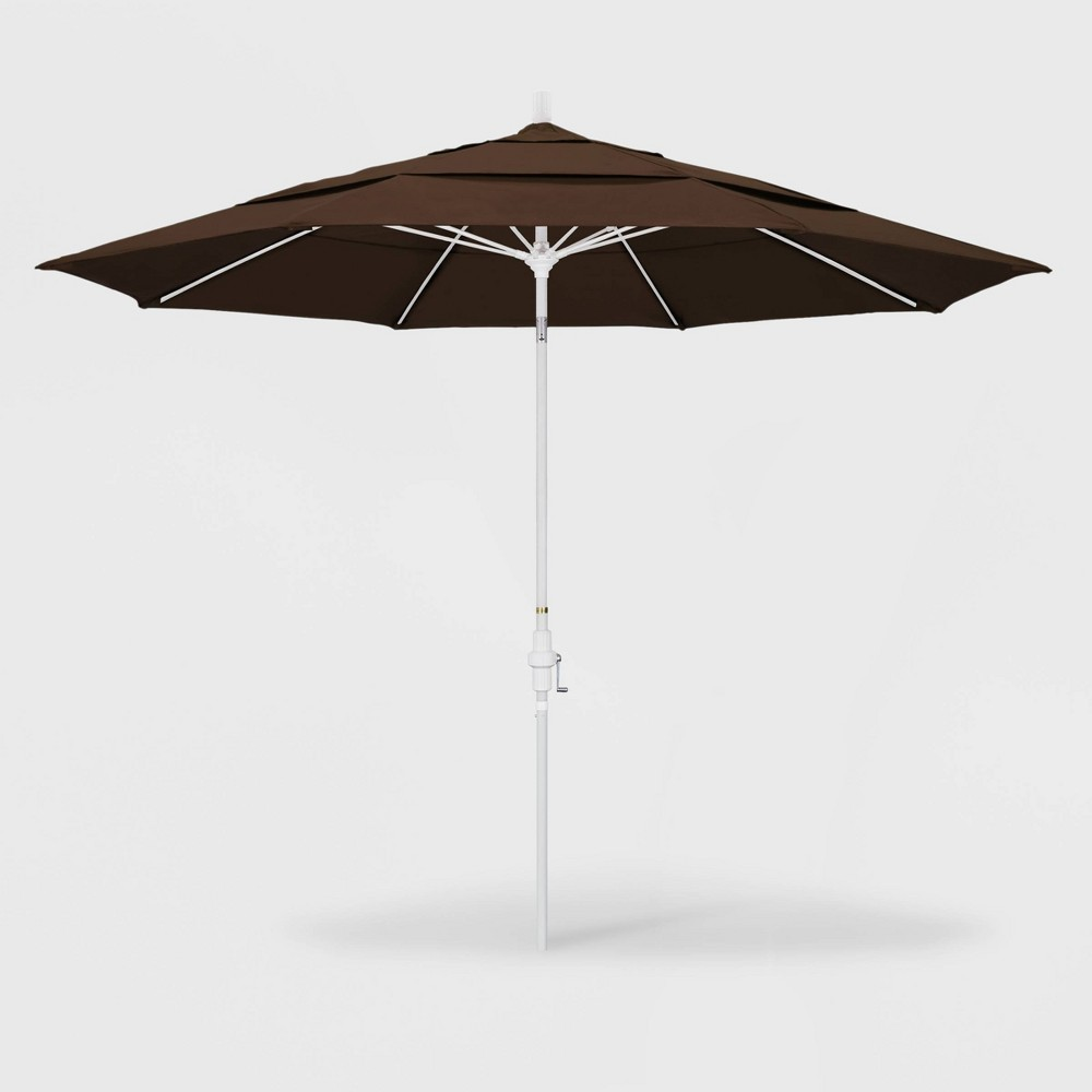 11' Sun Master Patio Umbrella Collar Tilt Crank Lift - Pacifica Mocha (Brown) - California Umbrella