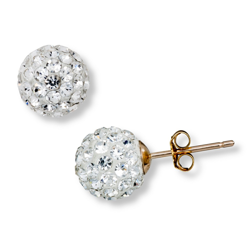 7.5mm Clear Crystal Ball Stud Earrings with Gold Filled Clutch in 10K Yellow Gold