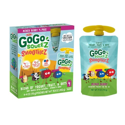 GoGo squeeZ Kids' SmoothieZ, Mixed Berry - 4oz/4ct - image 1 of 4