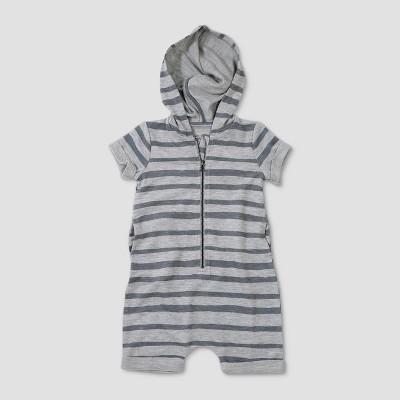 Baby Boys' Afton Street Short Sleeve Hooded Romper - Heather Gray 0-3M