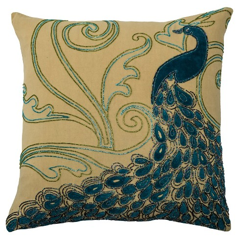 "Teal/Lime Peacock Throw Pillow (20""x20"") - Rizzy Home® - image 1 of 1"