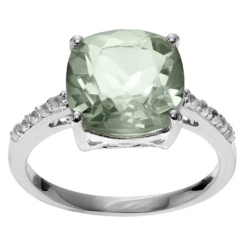 1 3/4 CT. T.W. Cushion-Cut Amethyst Accent Prong-Set Ring in Sterling Silver - Green - image 1 of 3