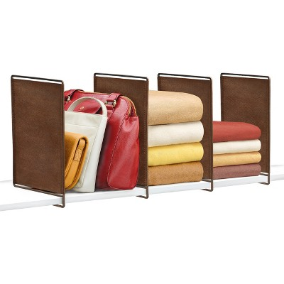 Lynk Vela Shelf Dividers (Set of 4)- Closet Shelf Organizer - Bronze