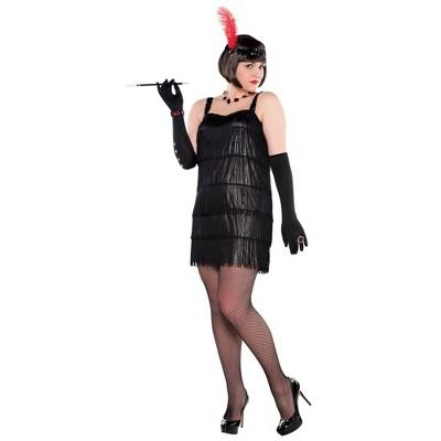 Adult Plus Flashy Flapper Halloween Costume