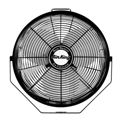 Air King 14 Inch 1/20 Horsepower 3-Speed Indoor Industrial and Commercial Enclosed Pivoting Warehouse Garage Steel Multi-Mount Fan, Black