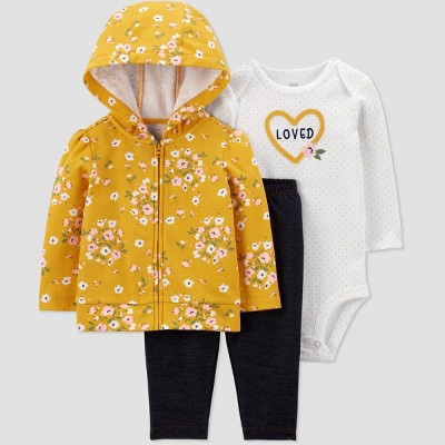 Baby Girls' Floral Long Sleeve Top & Bottom Set - Just One You® made by carter's Yellow Newborn