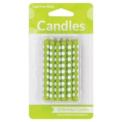 12ct Fresh Lime Dot Candles