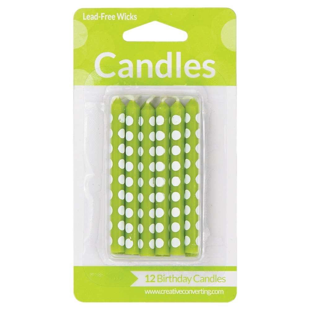 Image of 12ct Fresh Lime Dot Candles
