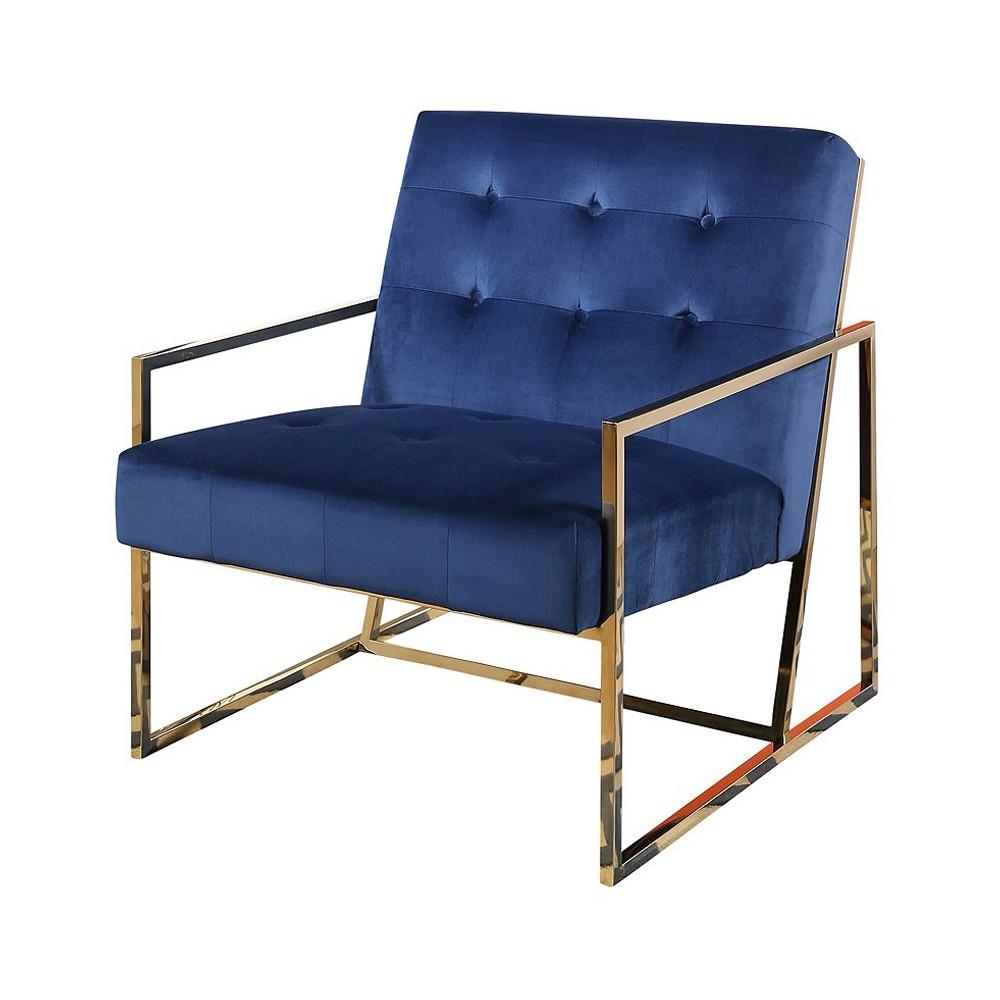 Buchanan Stainless Steel and Velvet Armchair - Navy Blue - Abbyson