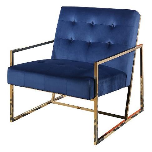 Buchanan Stainless Steel And Velvet Armchair Navy Blue Abbyson