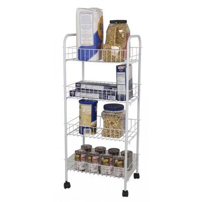 Home Basics 4 Tier Steel Kitchen Trolley, White