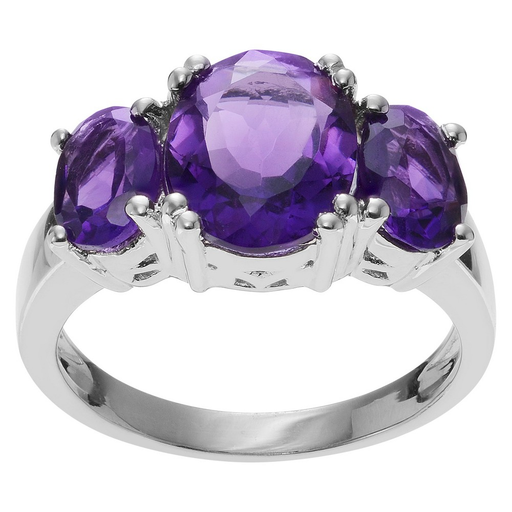 3 CT. T.W. Oval-Cut Amethyst Three-stone Prong-Set Ring in Sterling Silver - Purple (8), Girl's