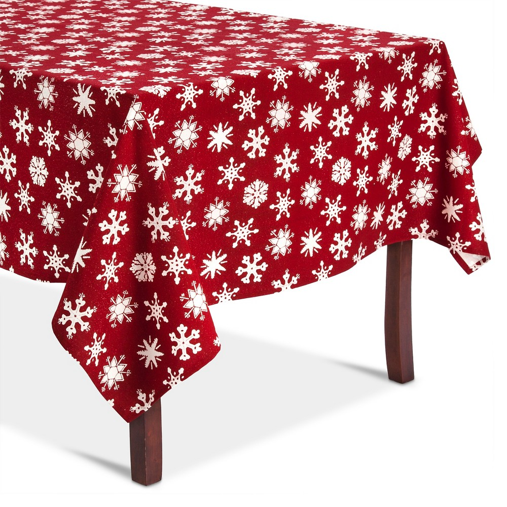 Ruby Snowflakes Tablecloth (60