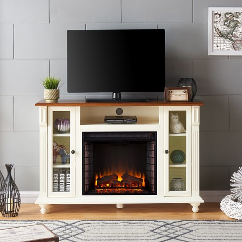 Captio Electric Fireplace Tv Stand Antique White Aiden Lane Target