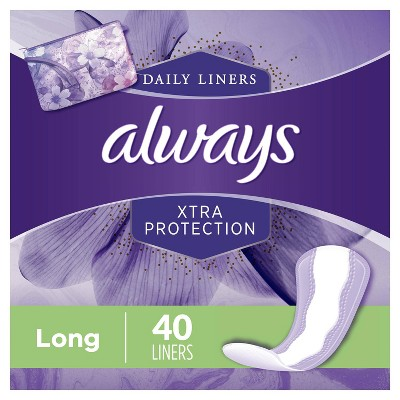 Always Xtra Protection Daily Liners Long - Unscented - 40ct