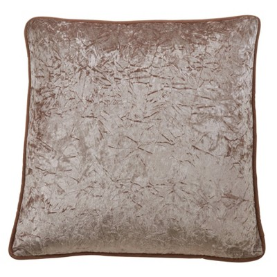 """22"""" Crushed Velvet Pillow Cover Champagne - SARO Lifestyle"""