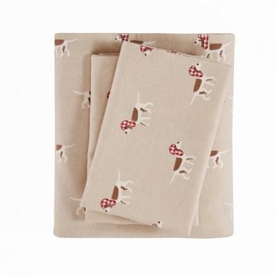 King Patterned Flannel Sheet Set Tan Dog