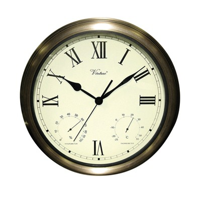 """Swim Central 18"""" White and Bronze Battery Operated Roman Outdoor Clock"""