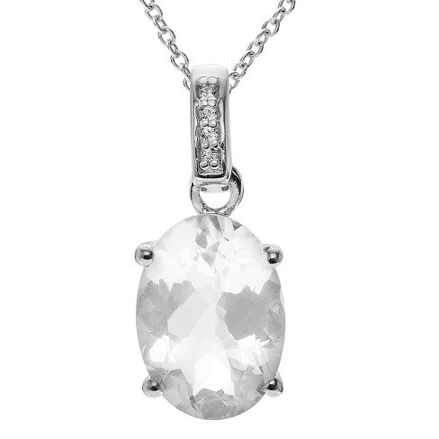 3 4/5 CT. T.W. Oval-Cut Quartz Prong-Set Necklace in Sterling Silver - Silver - image 1 of 2