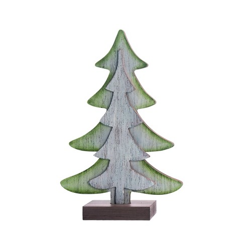 Transpac Wood 10 In. White Christmas Dimensional Tree ...