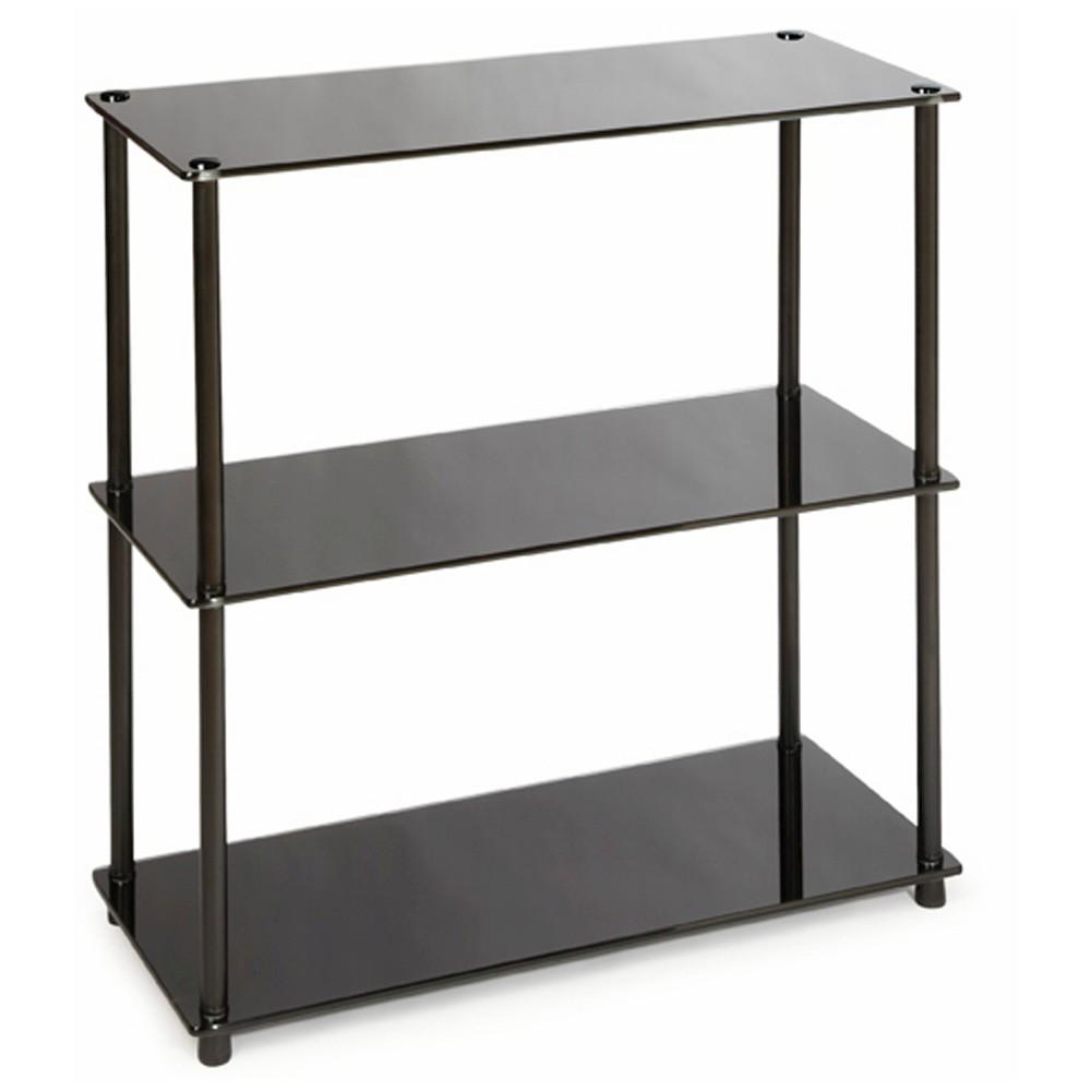 Image of 26.5 3 Shelf Bookcase Black Glass - Convenience Concepts