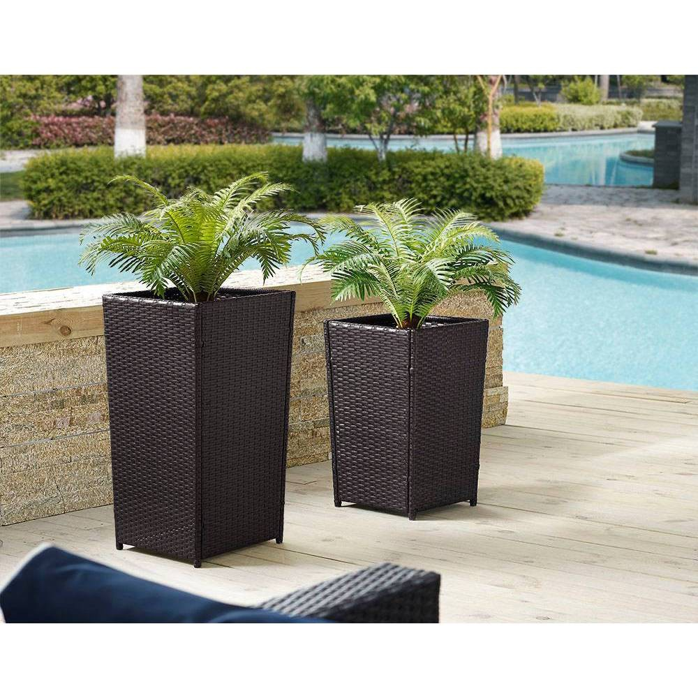 Image of 2pc Palm Harbor Square Outdoor Wicker/Metal Planter Set Brown - Crosley