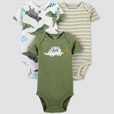 Baby Boys' 3pk Dino Short Sleeve Bodysuit - Just One You® made by carter's Green Newborn