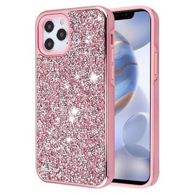 Asmyna Encrusted Rhinestones Hybrid Dual Layer Electroplated PC/TPU Rubber Case Cover Compatible With Apple iPhone 12 Series