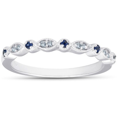 Pompeii3 1/5 ct Blue Sapphire & Diamond Wedding Ring Stackable Band 10k White Gold