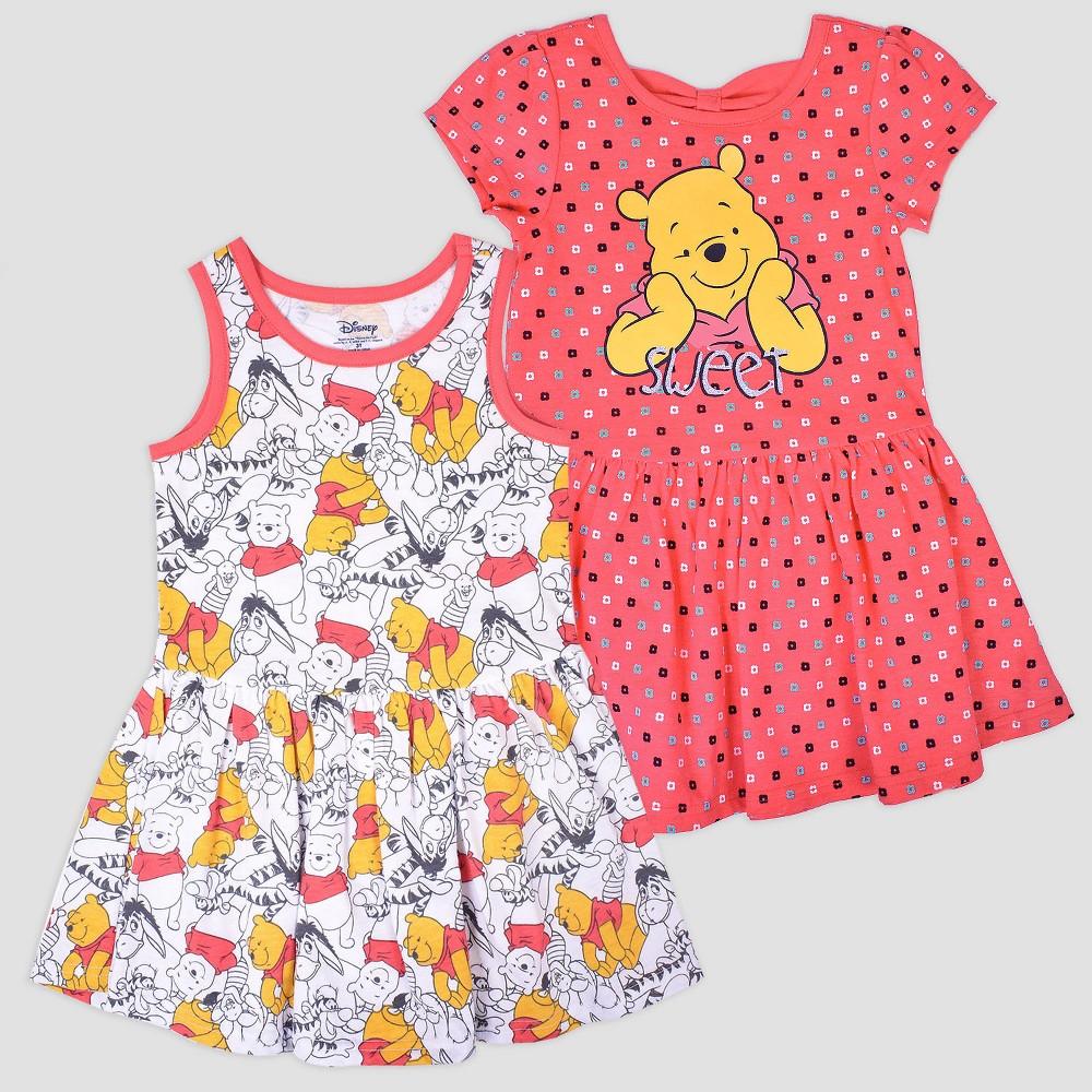 Toddler Girls' 2pk Disney Winnie the Pooh Short Sleeve Skater Dress - Pink/White 3T, Multicolored