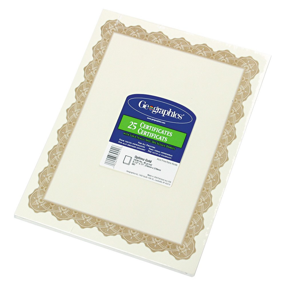 Geographics Parchment Paper Certificates, 8-1/2 x 11, Optima Gold Border, 25/Pack, Off White Use to create recognition of achievements. Can be used with inkjet or laser printers, copiers, quick printing, typewriters and calligraphy. For use with Geographics document covers. Compatible with all major software programs. Each has parchment finish. Theme: Optima; Shape: Rectangular; Width: 8 1/2 ; Height: 11 . Color: Off White.