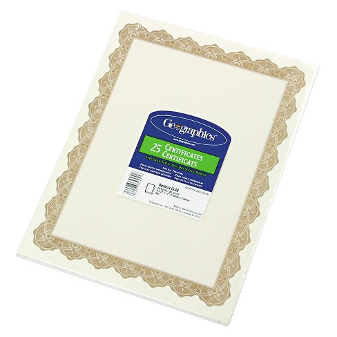 geographics parchment paper certificates 8 1 2 x 11 optima gold
