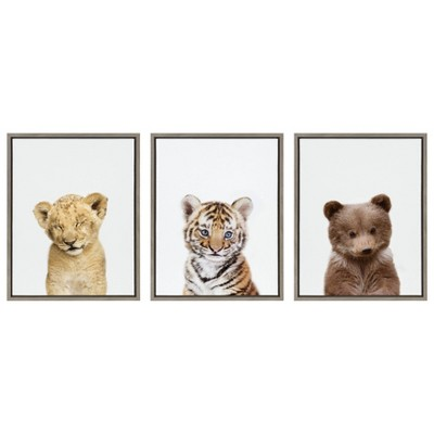 3pc Sylvie Lions and Tigers and Bears Framed Canvas Wall Art by Amy Peterson Gray - Kate and Laurel