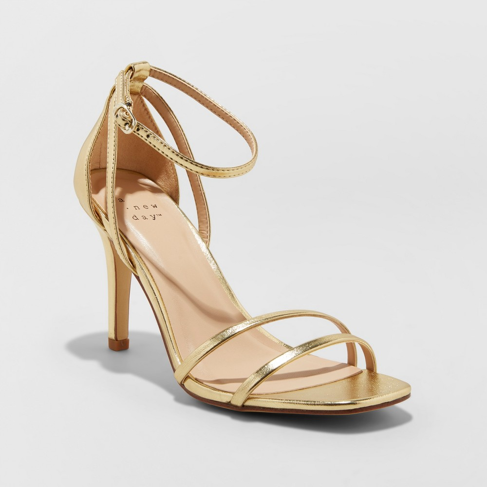 Women's Kayce Strappy Stiletto Heeled Pumps - A New Day Gold 9.5