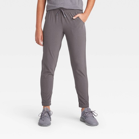 Girls' Stretch Woven Pants - All in Motion™ Gray Heather L - image 1 of 4
