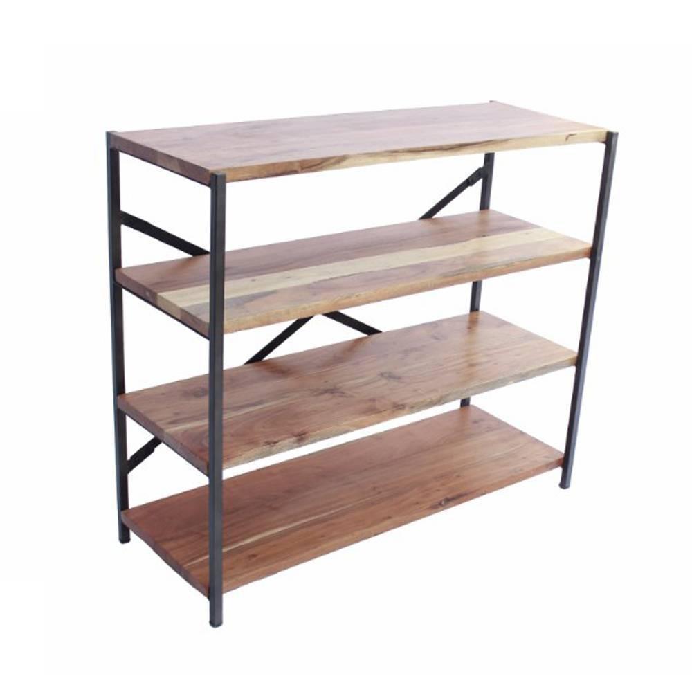 Industrial Design 4 Shelves Wood and Iron Bookshelf Mud (Brown) - The Urban Port
