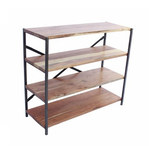 Industrial Design 4 Shelves Wood and Iron Bookshelf Mud - The Urban Port - image 1 of 4