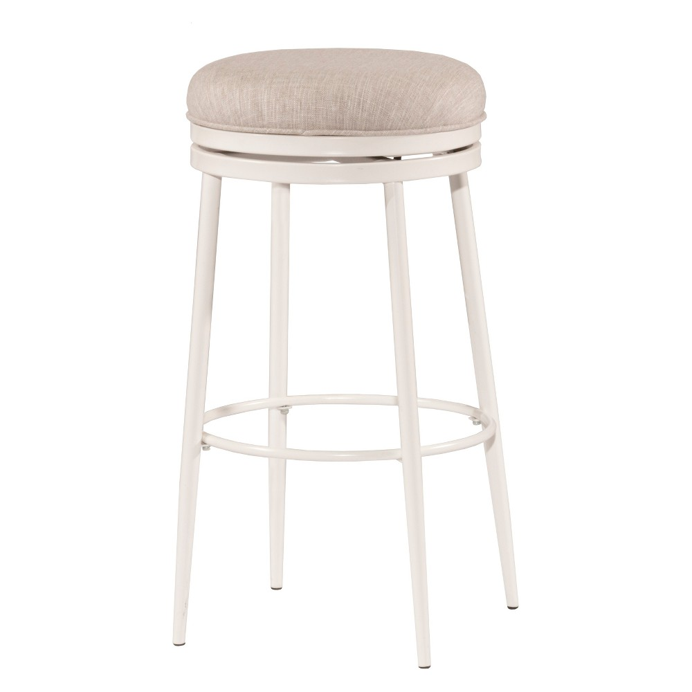 Aubrie Backless 26 Swivel Counter Stool Off White/Silver - Hillsdale Furniture