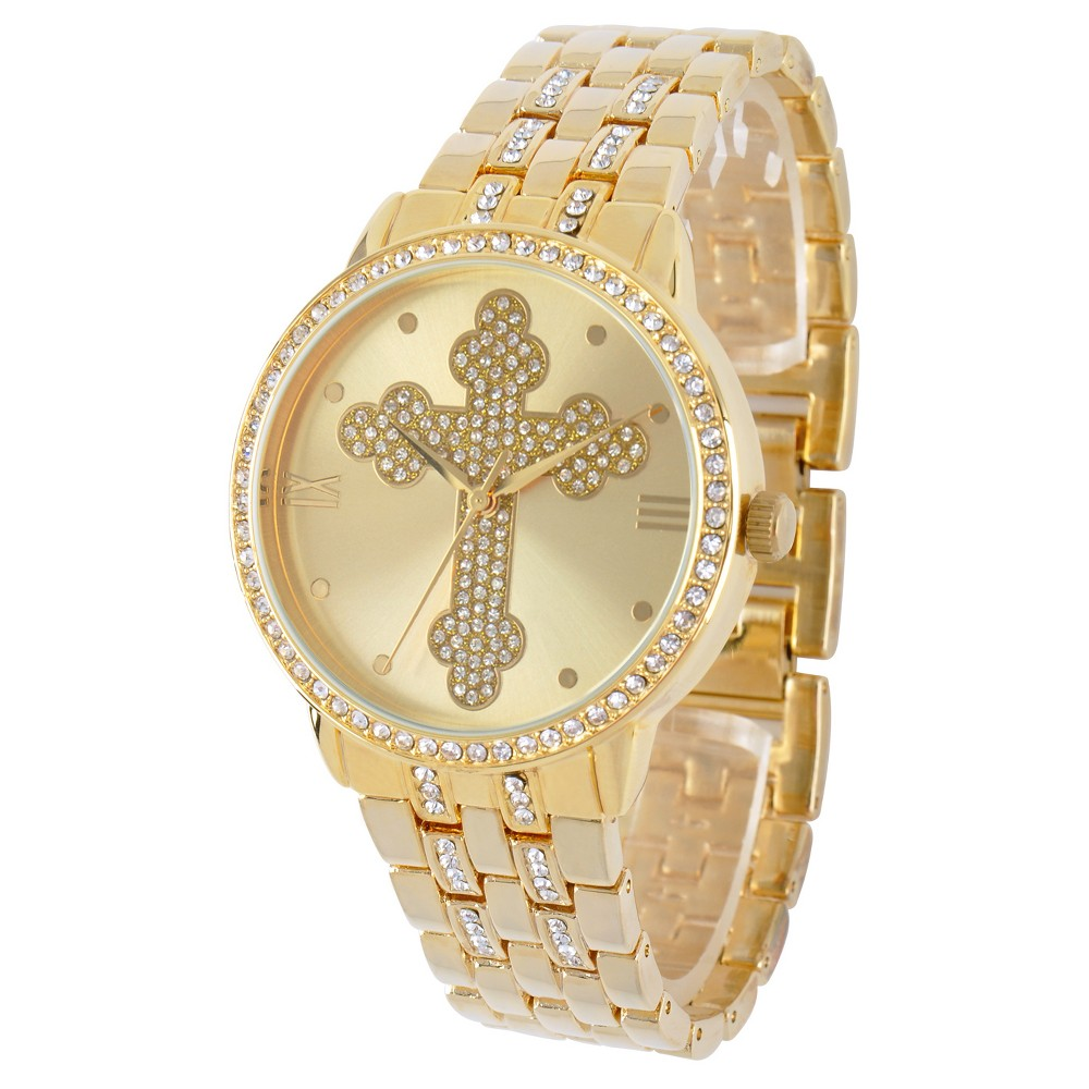 Image of Men's eWatchfactory Cross Round Bracelet Watch - Gold, Size: Small