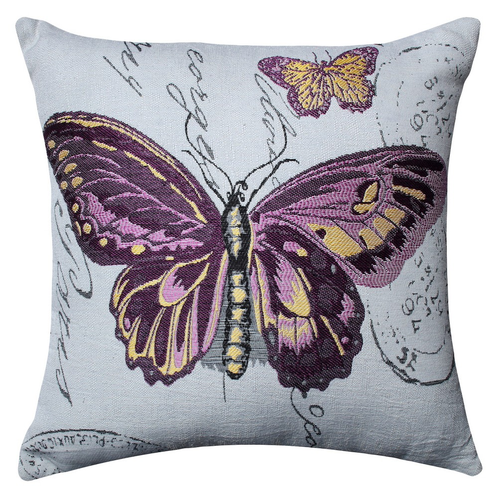 Pillow Perfect Butterfly Jacquard Throw Pillow - Off-White (16.5), Off White