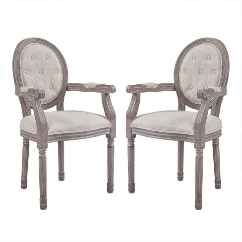 Set of 2 Arise Vintage French Upholstered Fabric Dining Armchair - Modway - image 1 of 5