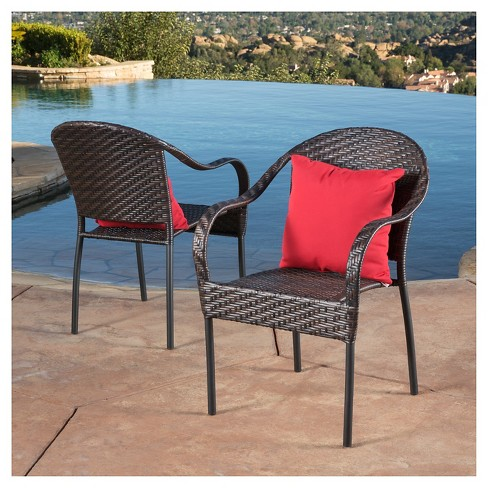 Sunset Set Of 2 Wicker Patio Chairs Christopher Knight Home