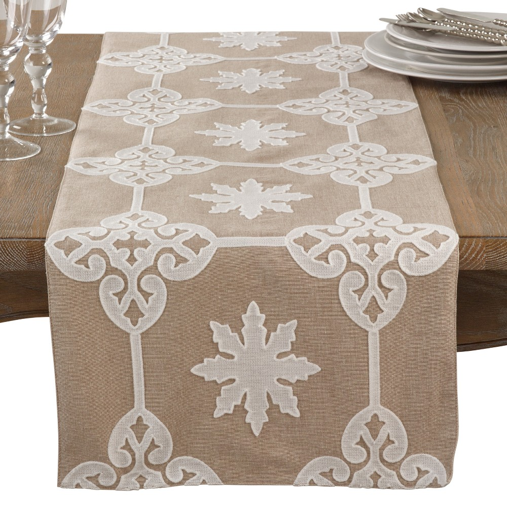 Natural Snowflakes Table Runner - Saro Lifestyle