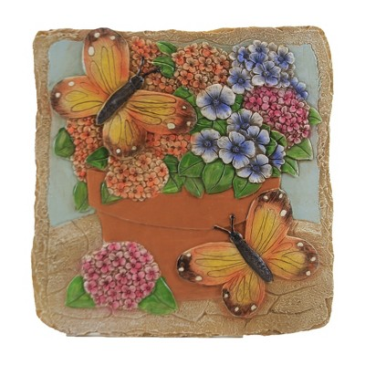 "Home & Garden 10.0"" Garden Stone Monarch Butterfly Flowers Pot Evergreen Enterprises Inc  -  Outdoor Sculptures And Statues"