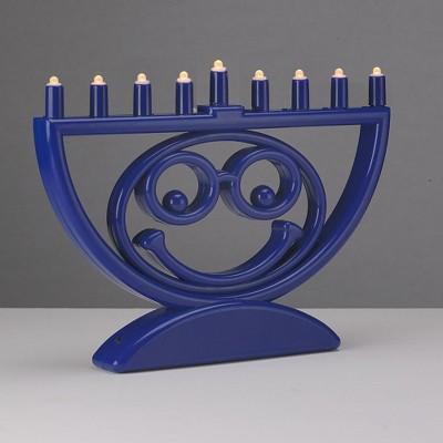 "Rite Lite 8.75"" Battery Operated 'Menoji' LED Hanukkah Menorah - Blue/White"