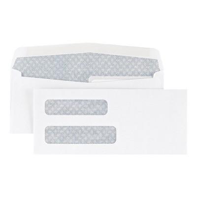 "Staples #8 5/8"" Check-Size Double Window Security-Tint Gummed Envelopes 500/BX 438614"