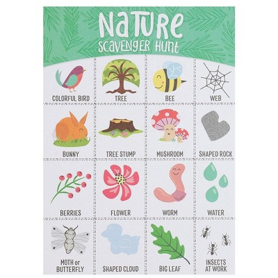 Juvale 50x Nature Scavenger Hunt Game Hunt Set for Kids Childrens Outdoor Game Cards