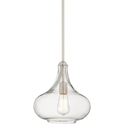 "Possini Euro Design Brushed Nickel Mini Pendant Light 11"" Wide Modern Clear Bubble Glass Fixture for Kitchen Island Dining Room"