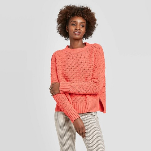 Women's Crewneck Textured Pullover Sweater - A New Day™ Red S - image 1 of 3
